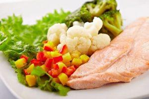 Еда, овощи, рыба